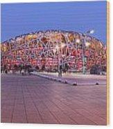 National Stadium Panorama Beijing China Wood Print by Colin and Linda McKie