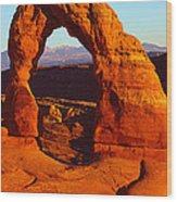 Natural Arch In A Desert, Delicate Wood Print