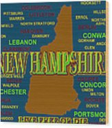 New Hampshire State Pride Map Silhouette  Wood Print