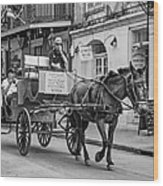 New Orleans - Carriage Ride Bw Wood Print