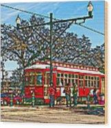 New Orleans Streetcar Painted Wood Print