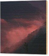 New River Sunset Fog Wood Print