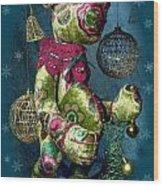 New-year Bear Wood Print