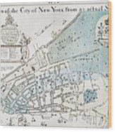New York City Map, 1728 Wood Print