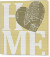 New York Map Home Heart - New York City New Yorkroad Map In A He Wood Print