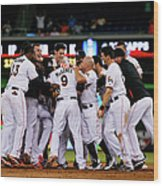 New York Mets V Miami Marlins Wood Print