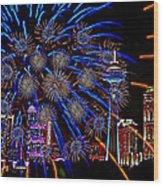 Niagara Fireworks Wood Print