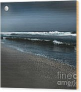 Night Beach  Wood Print by Artist and Photographer Laura Wrede