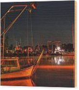 Night In The Harbor Wood Print