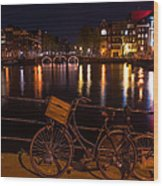 Night Lights On The Amsterdam Canals. Holland Wood Print