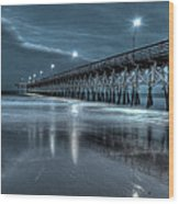 Nighttime At The Pier Wood Print