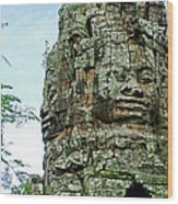 North Gate Of Angkor Thom In Angkor Wat Archeological Park-cambodia Wood Print