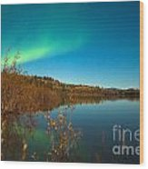 Northern Lights And Fall Colors At Calm Lake Wood Print