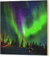 Northern Lights, Lapland, Sweden Wood Print