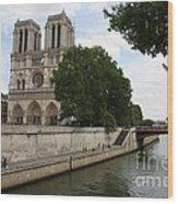 Notre Dame Along The Seine Wood Print