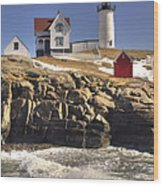 Nubble Lighthouse 3 Wood Print by Joann Vitali