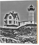 Nubble Lighthouse Cape Neddick Maine Wood Print by Glenn Gordon
