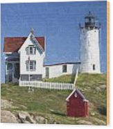 Nubble Lighthouse Maine Painterly Effect Wood Print