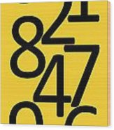 Numbers In Black And Yellow Wood Print