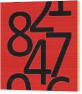 Numbers In Red And Black Wood Print