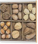 Nuts In Rustic Wooden Box Wood Print