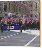 Nyc Fire Department Honoring The 343 Lost Comrades Of 911 With 343 American Flags Wood Print