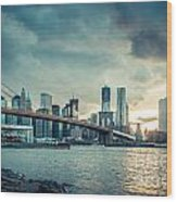 Nyc Skyline In The Sunset V1 Wood Print
