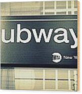 Nyc Subway Sign Wood Print
