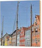 Nyhavn In Copenhagen Denmark - Famous Tourist Attraction Wood Print