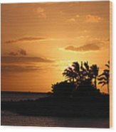 Oahu Sunset Wood Print
