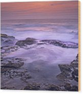 Ocean And Lava Rocks At Sunset Puuhonua Wood Print