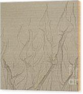 Ocean Sand Art Hearts Wood Print