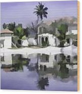 Oil Painting - Cottages And Lagoon Water Wood Print