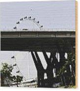 Oil Painting - Span Of The Benjamin Sheares Bridge With Its Pillars In Singapor Wood Print