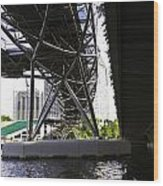 Oil Painting - View Under The Bayfront Bridge And Helix Bridge In Singapore Wood Print