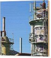Oil Refinery Wood Print