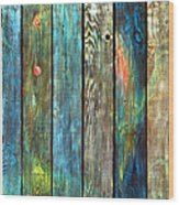 Old Barnyard Gate With Colors Brightened Wood Print
