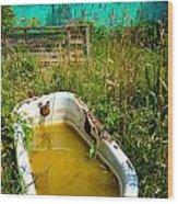 Old Bathtub Near Painted Barn Wood Print