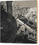 Old Black Locomotive Engine Details Wood Print