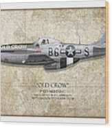 Old Crow P-51 Mustang - Map Background Wood Print