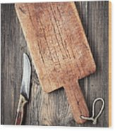 Old Cutting Board And Knife Wood Print