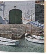 Typical Mediterranean Fishermen Boat And House In Minorca Island - Old Fishermen Villa Wood Print