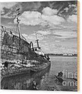 Old Fishing Ship Wreck Wood Print