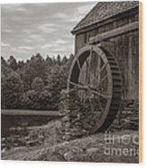 Old Grist Mill Vermont Wood Print by Edward Fielding