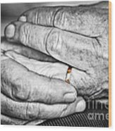 Old Hands With Wedding Band Wood Print