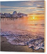 Old Orchard Beach Sea Smoke Wood Print