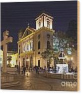 Old Portuguese Colonial Church In Macau Macao China Wood Print