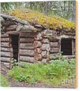 Old Traditional Log Cabin Rotting In Yukon Taiga Wood Print