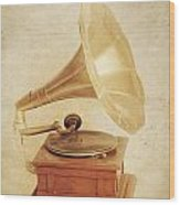 Old Vintage Gold Gramophone Photo. Classical Sound Wood Print