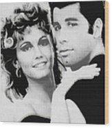 Olivia Newton John And John Travolta In Grease Collage Wood Print